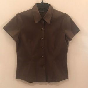 Banana Republic Brown Stretch Button Down Top, S